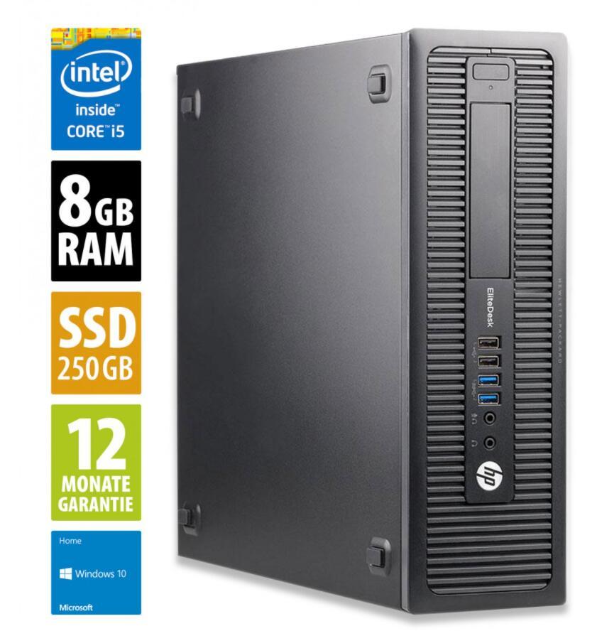 PC Fixe HP EliteDesk 800 G2 SFF - i5-6500, 8 Go de RAM, 250 Go SSD, Win10 (Reconditionné - Grade A)