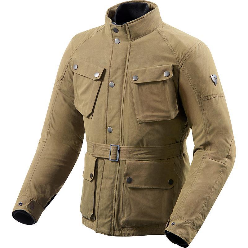 Veste de moto Rev'It LivingStone beige ou verte foncé - Toutes saisons, doublure thermique amovible, revêtement étanche hydratex