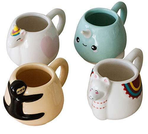 Lot de 4 tasses expresso animaux (4 x 30 ml)
