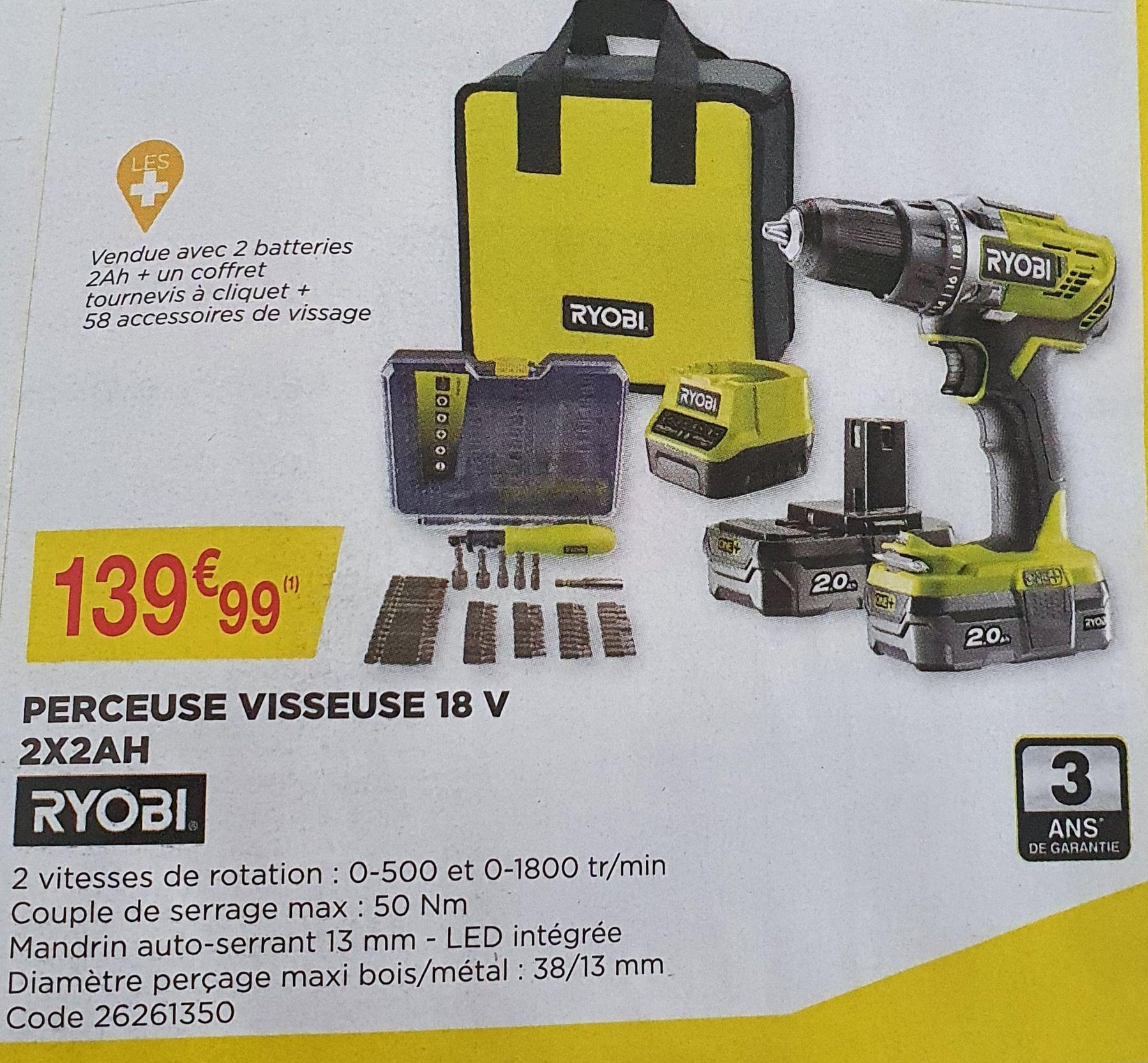 Coffret perceuse visseuse Ryobi 18V + 2 batteries 2Ah + coffret tournevis à cliquet + 58 accessoires de vissage
