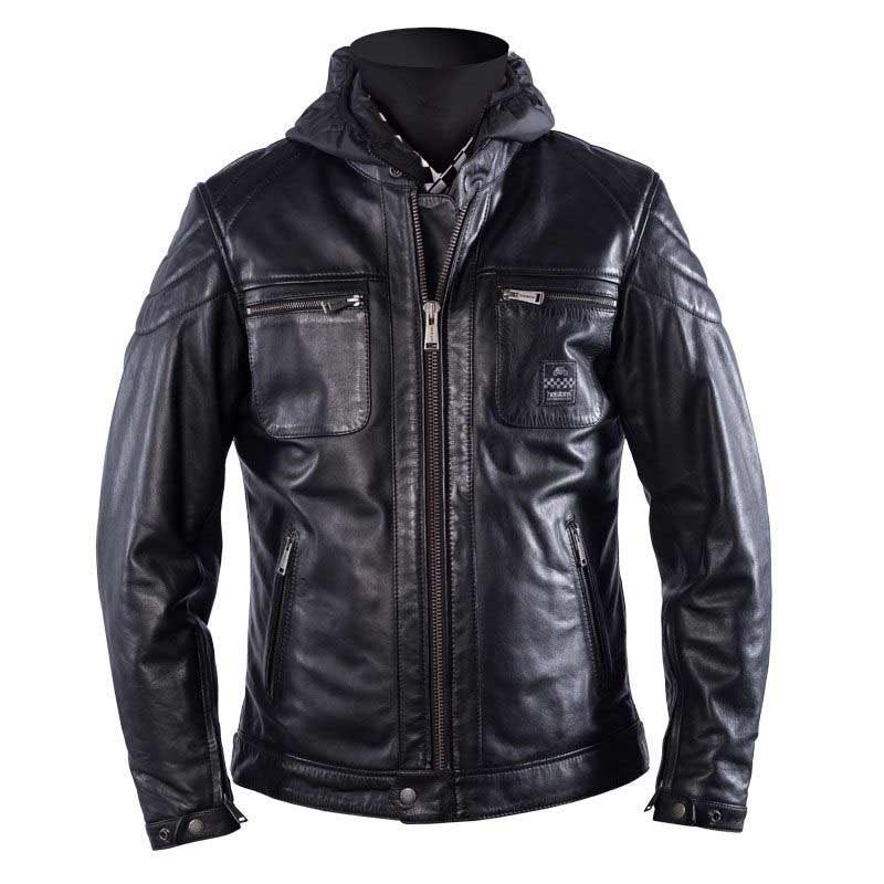 Blouson de moto en cuir Helstons Bristol - noir (du S au XXL) - Japauto-Accessoires.com