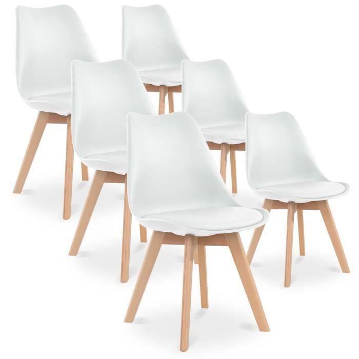 Lot de 6 chaises Catherina - Style Scandinave avec Pieds en bois et Assise rembourrée, Blanc (+ 5€ à cagnotter pour CDAV) - Vendeur tiers