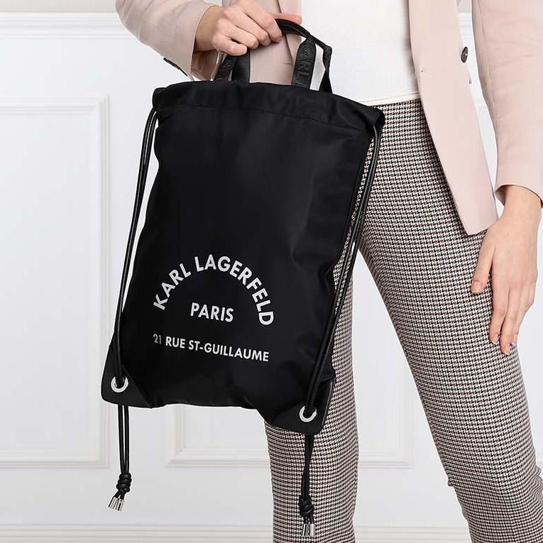 Sac à dos plat Karl Lagerfeld 21 Rue St-Guillaume - en toile et cuir, gris ou noir