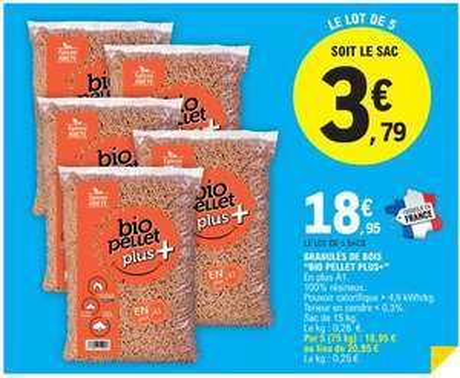 Lot de 5 sacs de granulés de bois Bio Pellet Plus+ - 100% résineux, 15 kg