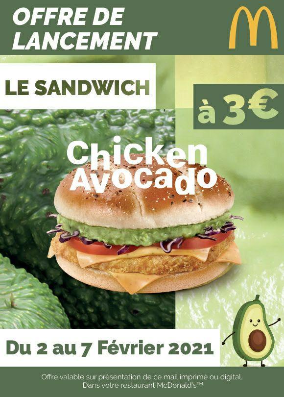 Burger Chicken Avocado 3€ - Saint-Germain-en-Laye (78)