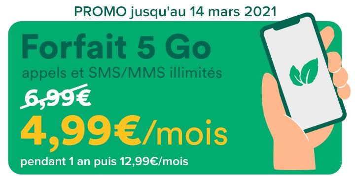 Forfait mensuel Mint Mobile appels/SMS/MMS illimités + 5 Go DATA à 4.99€ ou 50 Go à 9.99€ - pendant un an (sans engagement) - Mint-Mobile.fr