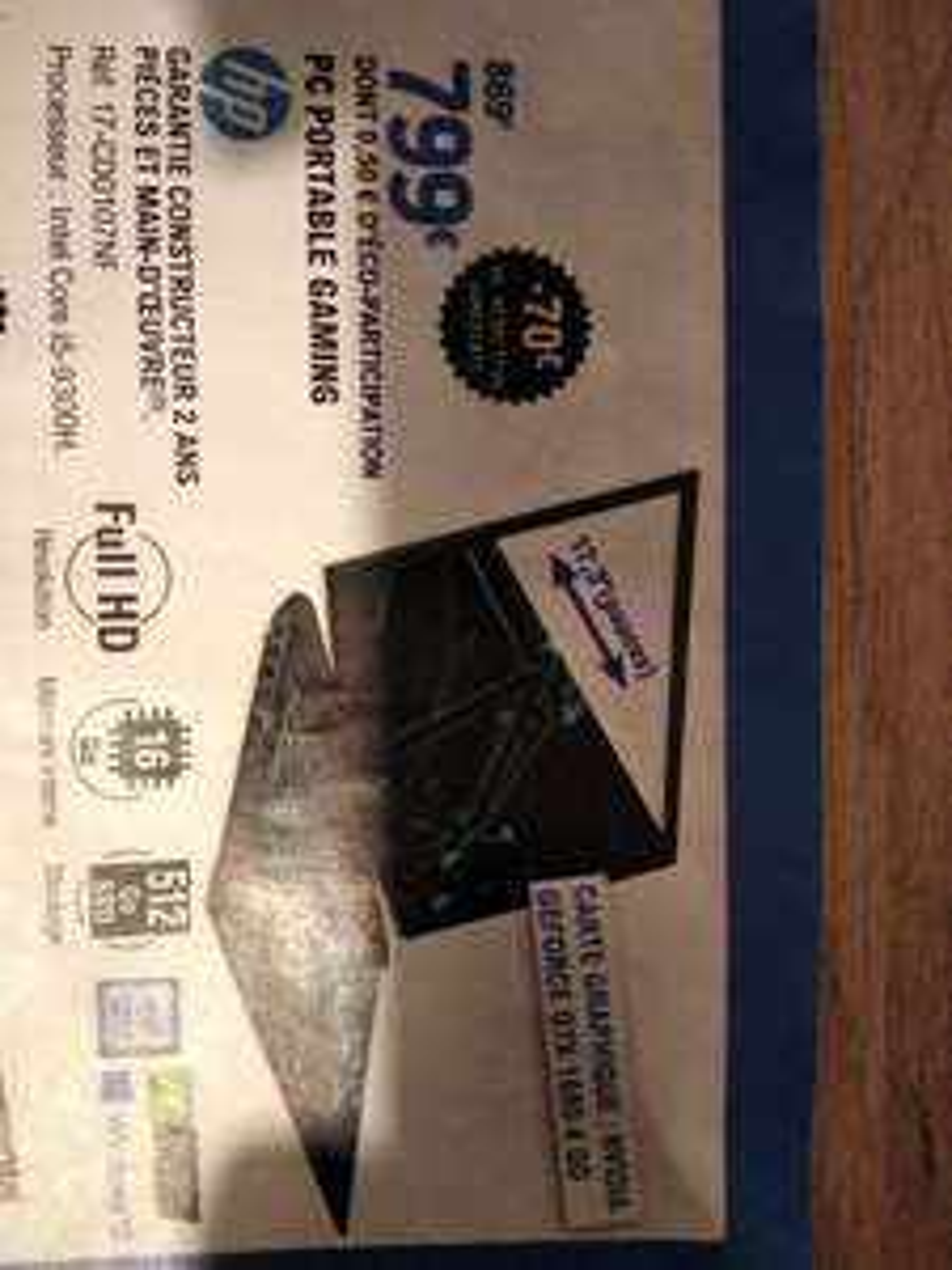 "PC Portable 17,3"" HP 17-CD0107NF - i5-9300H, 16 Go Ram, 512 Go SSD"