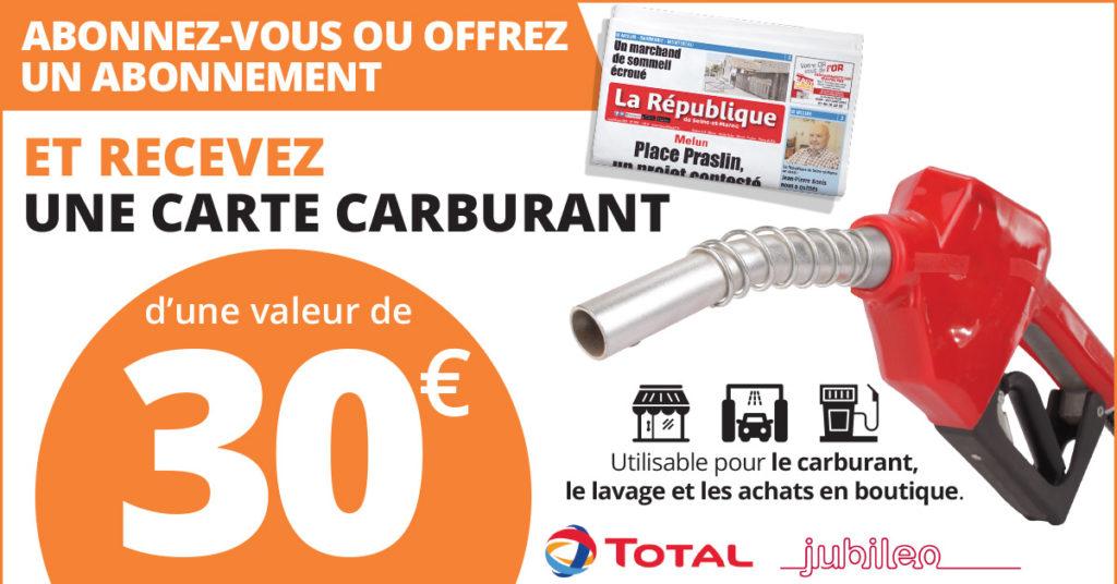 Carte essence de 30€ offerte pour tout abonnement au magazine La république