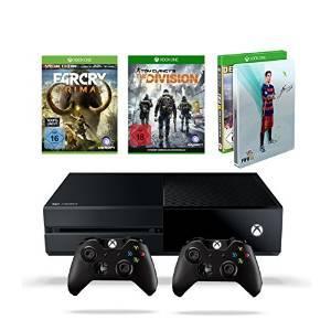 Console Xbox One 500 Go + 2ème manette + FIFA 16 Version Deluxe avec steelbook + Far Cry Primal Special Edition + The Division
