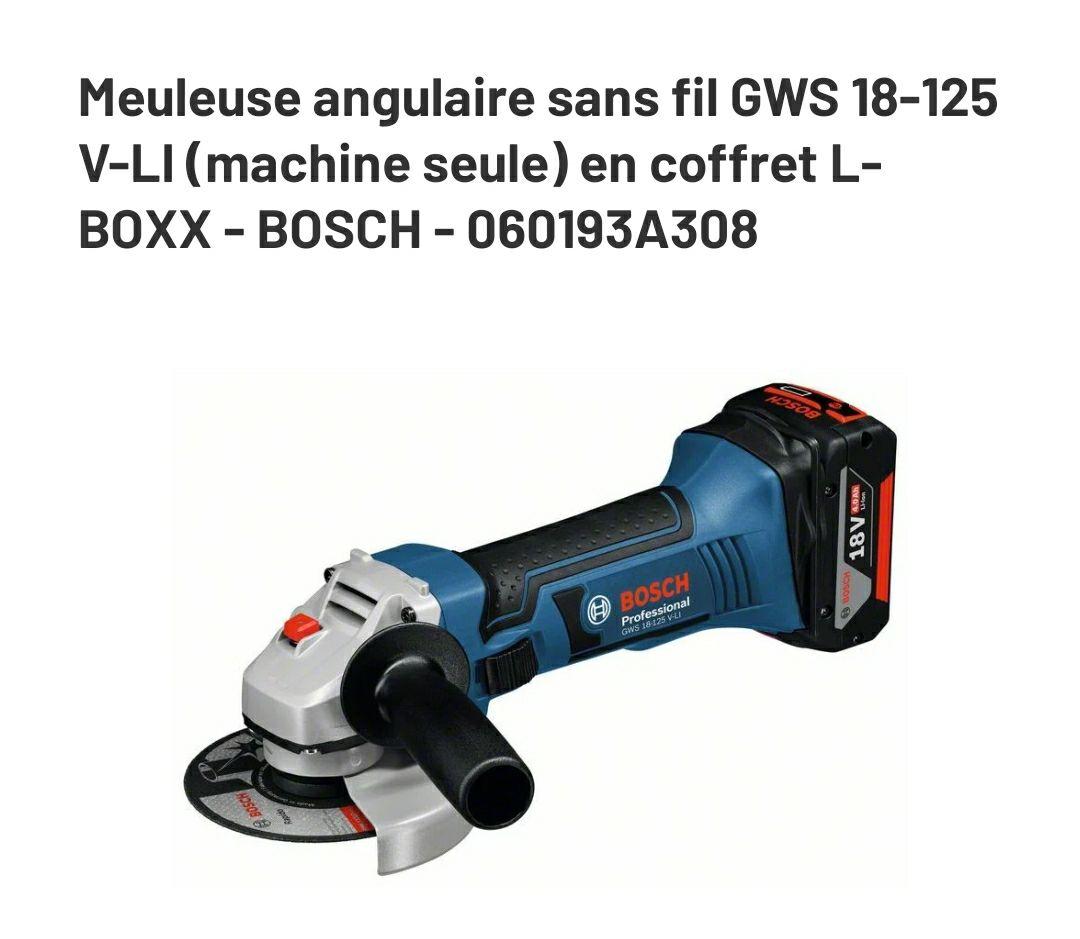 Meuleuse angulaire sans fil GWS 18-125 V-LI (machine seule) en coffret L-BOXX - BOSCH