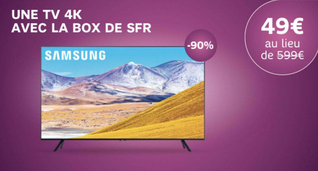 """[Nouveaux clients] TV 43"""" Samsung 43TU8005 (4K UHD, Smart TV) + Abonnement Fibre SFR (jusqu'à 500 mbit/s) & TV (engagement 24 mois)"""