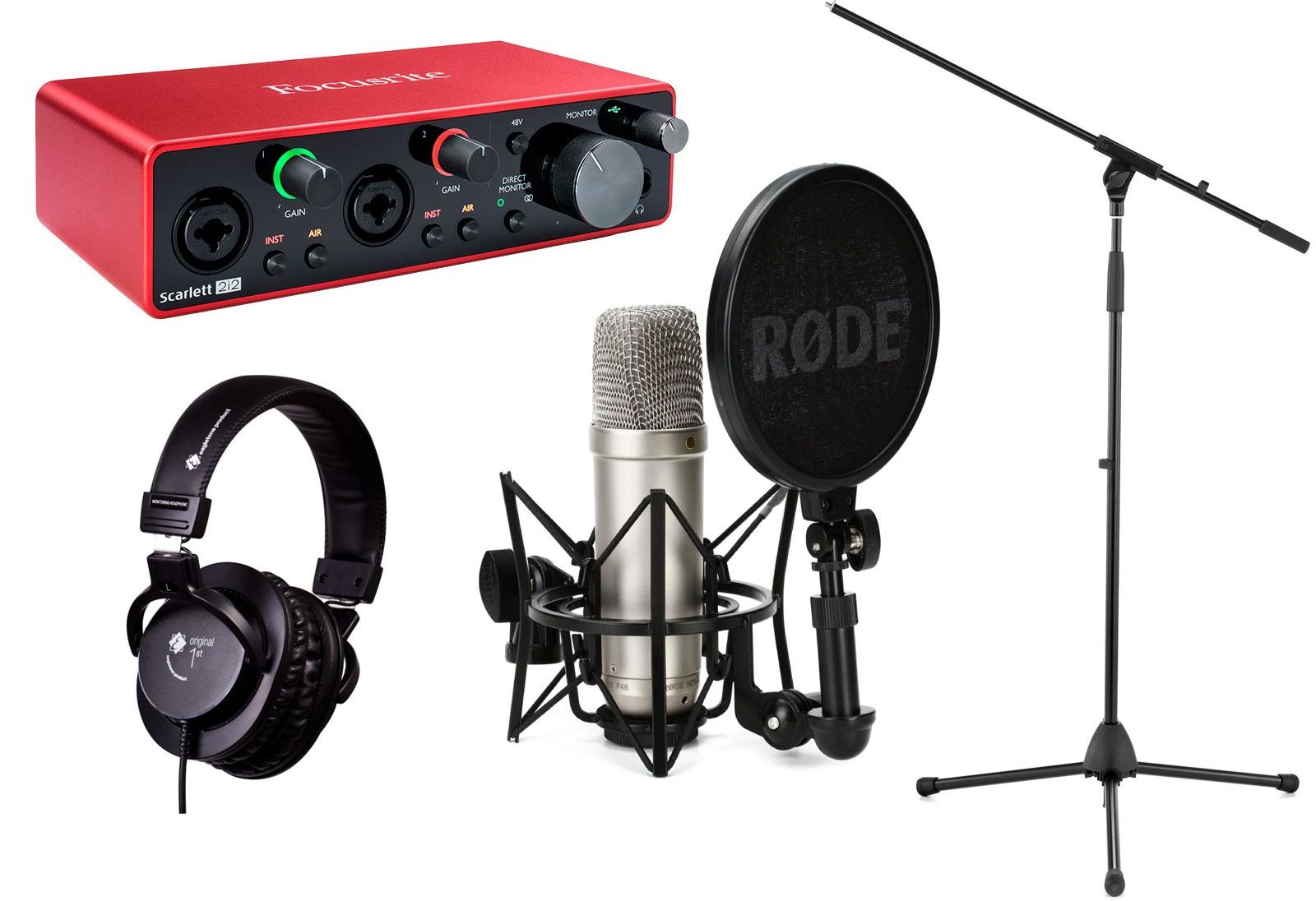 Pack Interface audio Focusrite Scarlett 2i2 G3 + Micro Rode NT1-A + pied de microphone MIC50 + Casque studio fermé Eagletone Original First