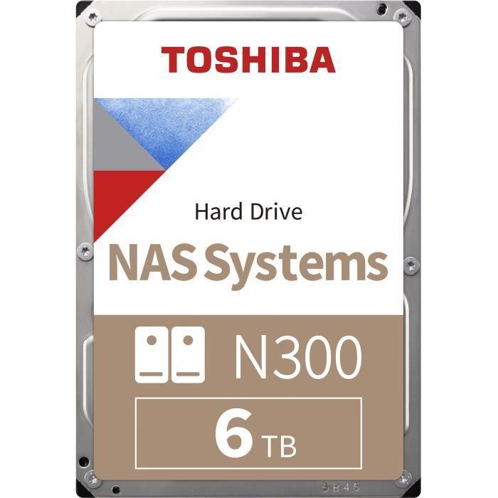 """Disque dur Interne 3.5"""" Toshiba N300 - 6 To, 7 200 tr/min, 128 Mo, CMR (HDWN160UZSVA)"""