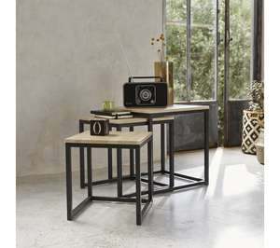 Table basse gigogne style industrielle Time Neva - coloris chêne/noir