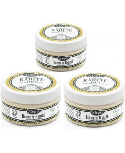 Lot de 3 pots de Beurre de Karité Bio Alepia - 3 x 100g