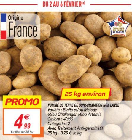 Filet de 25 Kg de pommes de terre - Différentes variétés, origine France
