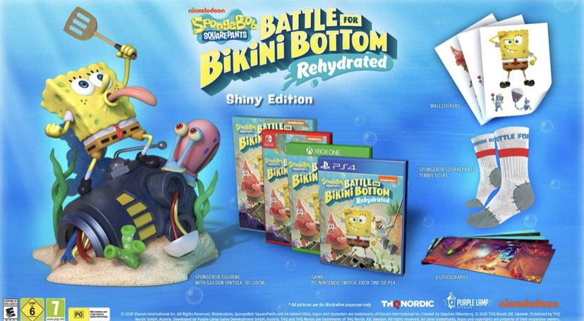 (Edition Collector Jeu/Statuette/Paire chaussettes/Stickers/Lithographies) Bob l'éponge : Bataille Bikini Bottom Réhydraté - Shiny (Switch)