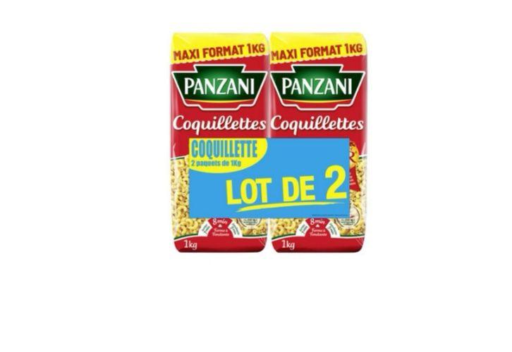 Lot de 2 paquets de 1kg de pâtes Panzani Coquillettes, Macaroni ou Spaghetti - 2x1kg (via 0.92€ sur la carte de fidélité)