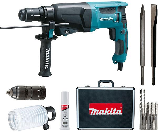 Coffret marteau-perforateur Makita Hr2320tsp1 SDS Plus (720 W) - avec mandrin interchangeable, 5 forets et 2 burins - Tollevast (50)