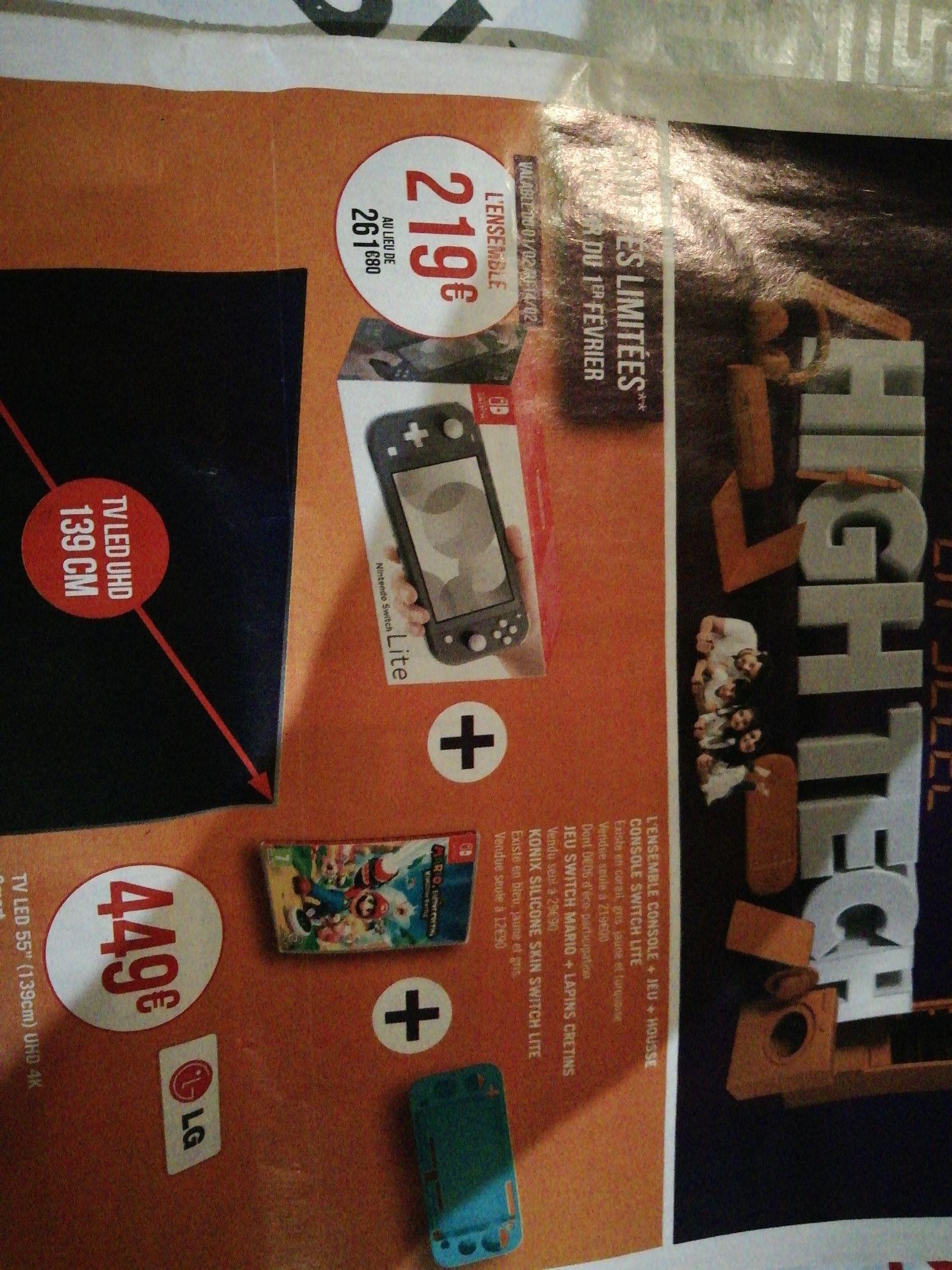 Console Nintendo Switch Lite + Jeu mario lapins crétins + Housse