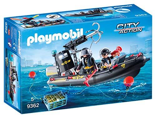 Jouet Playmobil - Bateau Pneumatique et Policiers d'Élite n°9362