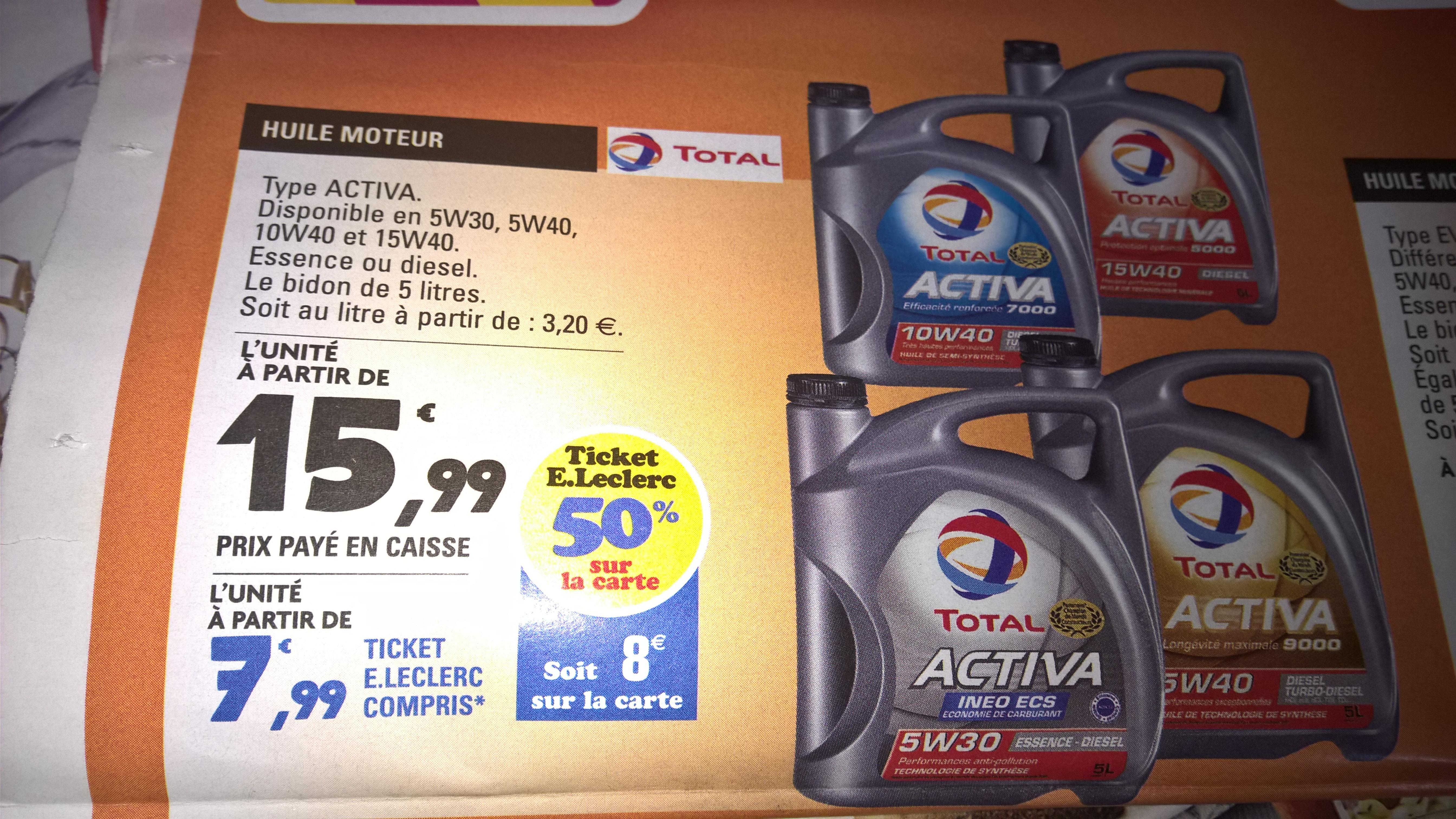 Différentes huiles de moteur Total Activa (5 L) - via 50% en ticket E.Leclerc