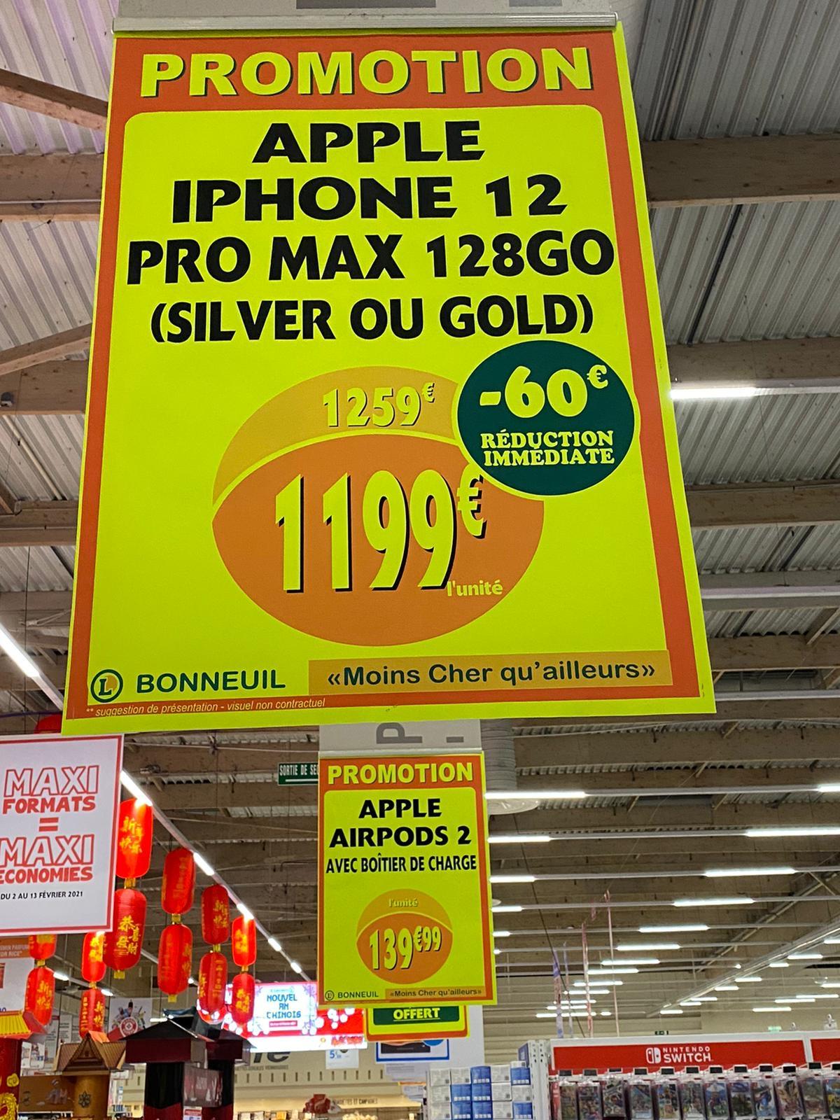 """Smartphone 6.7"""" Apple iPhone 12 Pro Max (QHD Retina, A14, 6 Go de RAM, 128 Go, argent ou or) - Bonneuil-sur-Marne (94)"""