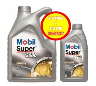 Huile moteur Mobil Super 3000 5W-40 - Essence/Diesel (5L + 1L)