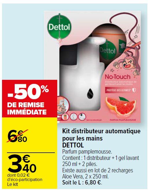 Distributeur de savon automatique Dettol + Recharge 250 ml