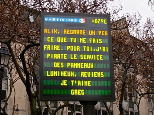 Diffusion Gratuite de messages sur les Panneaux Lumineux pour la Saint Valentin - Paris(75) / Serris (77)