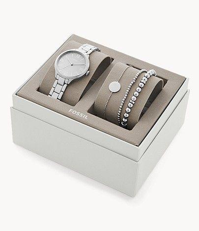 Coffret Fossil montre à 3 aiguilles + bracelets Suitor - argent ou or rose