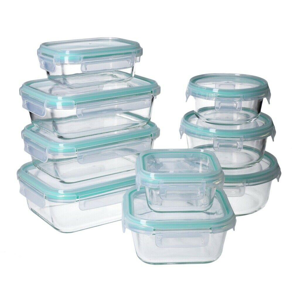 Set de 18 Pcs de conservation en verre avec Couvercles hermétiques à 4-clic (Sans BPA) - Compatibles lave-vaisselle, micro-ondes et four