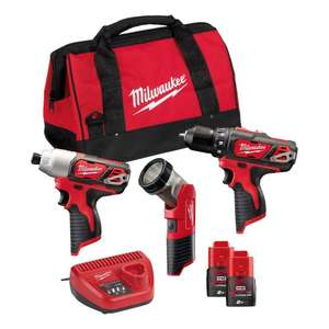 Milwaukee M12 BPP3A-202B - Li-Ion 12V Perceuse visseuse M12 BDD, perceuse à percussion M12 BID, lampe torche C12 T + 2x batterie 2.0Ah + Sac