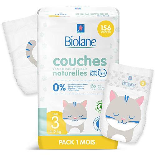 Paquet de Couches éco-responsables Biolane - Taille 3 (4 - 9 kg) - Zéro fuite pendant 12h