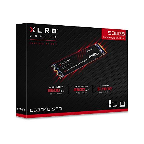 SSD interne M.2 NVMe PNY CS3040 XLR8 - 500 Go, Gen4, Lecture 5600 MB/s (Frais et importation inclus)