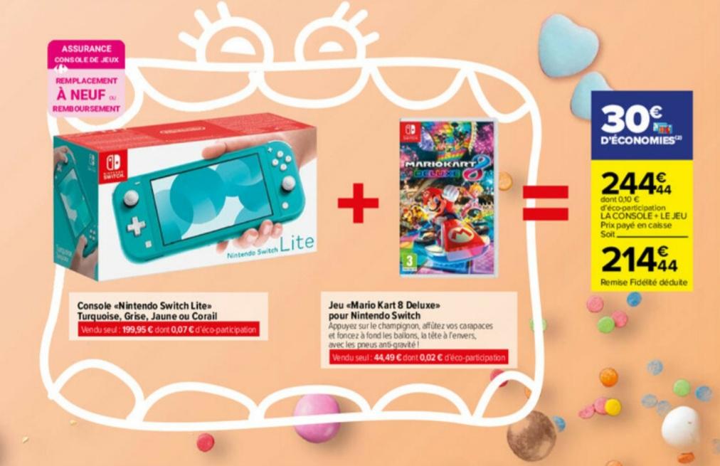 Console Nintendo Switch Lite + Mario Kart 8 Deluxe (via 30€ sur la carte)