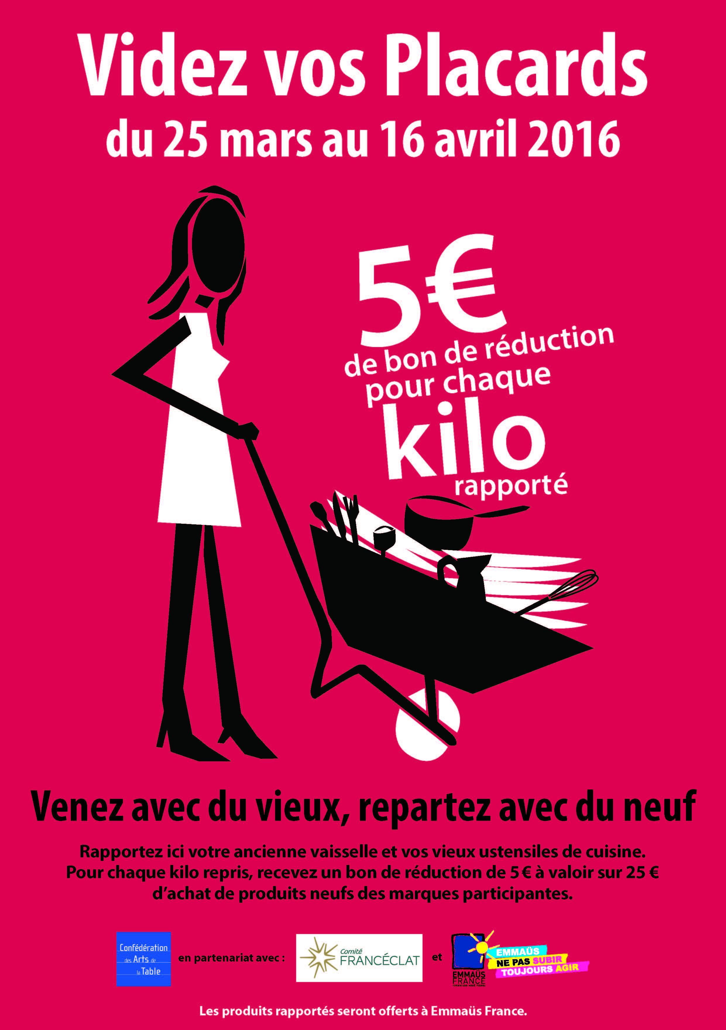 5€ Offert en bon d'achat pour chaque kilo de vaisselle rapporté