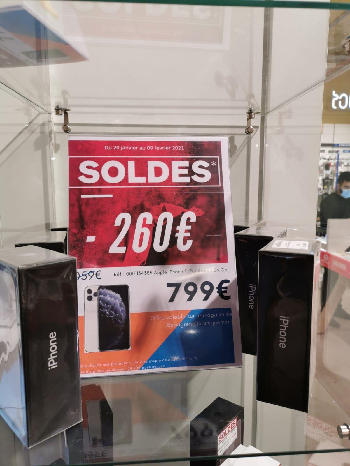 "Smartphone 5.8"" Apple iPhone 11 Pro (64 Go, Argent) - Beaugrenelle Paris (75)"