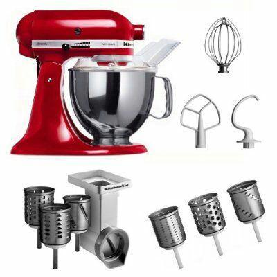 Pack Robot culinaire KitchenAid KSM150PSEER Rouge + MVSA + EMVSC avec accessoires pour tranchoir et râpe à cylindres + set de 3 cylindres