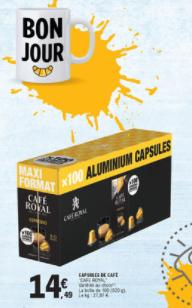 Boîte de 100 capsules de café Café Royal compatibles Nespresso (Différentes variétés) - Thionville (57)