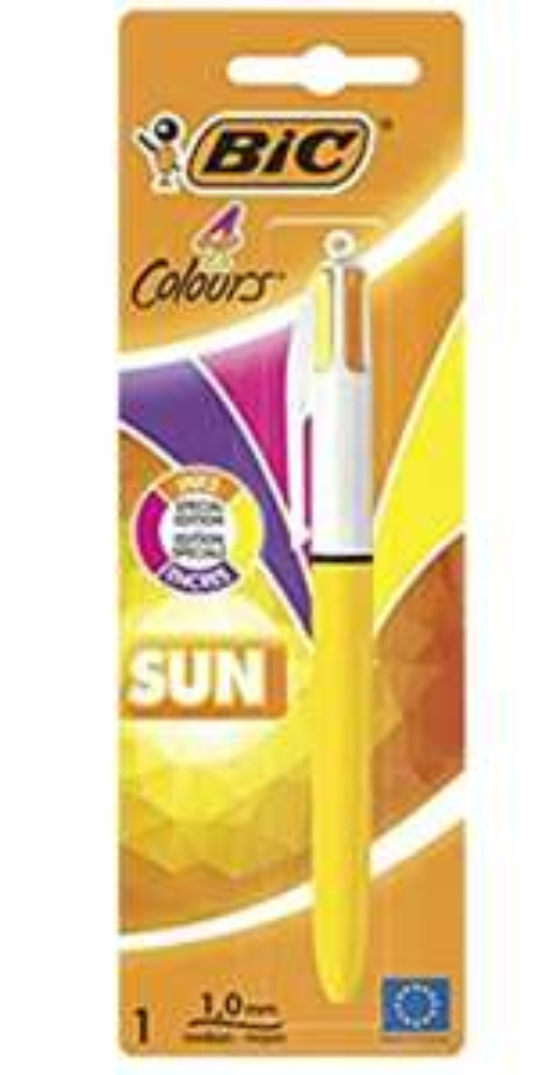 Stylo-Bille Rétractable Bic 4 Couleurs Sun - Pointe Moyenne (1,0 mm) - Encres Fantaisie
