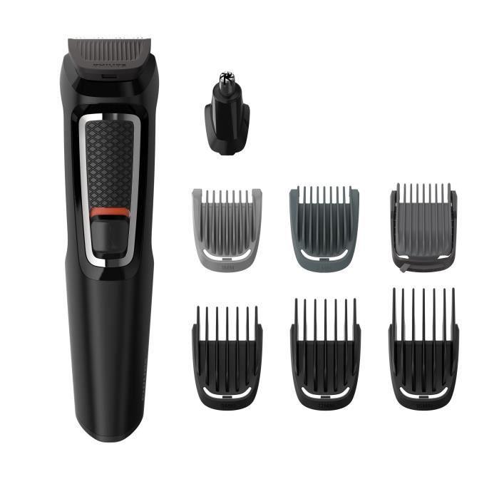 Tondeuse Barbe et Cheveux Philips Multigroom MG3730/15 - 8 en 1, Lames auto-affutées, Noir