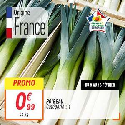 Poireau Catégorie 1 Origine France (le kilo)