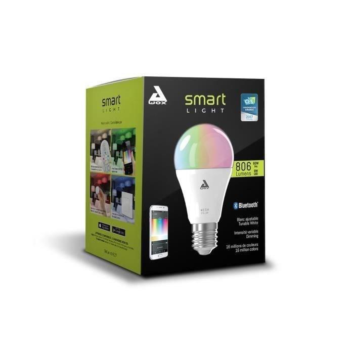 Awox Pack 2 ampoules connectées - Blanc + Couleur, LED E27 + Télécommande Bluetooth Mesh