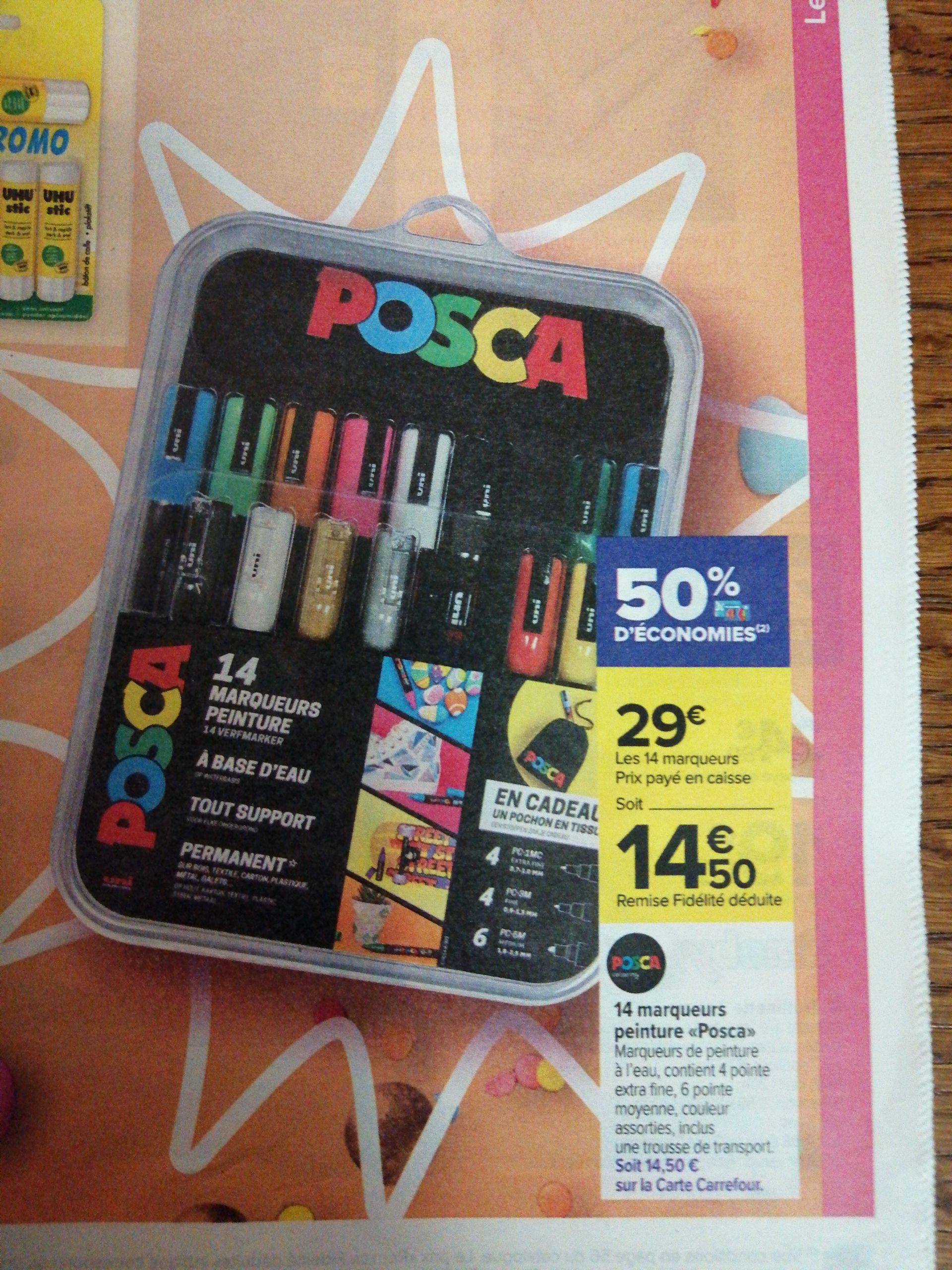 Etui 14 marqueurs peinture Posca + Trousse de transport (Via 14.50€ sur la carte fidélité)
