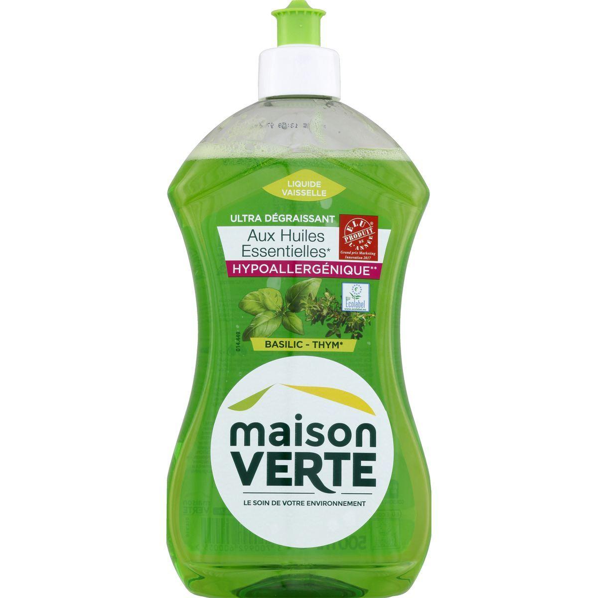 Lot de 2 bouteilles de liquide vaisselle Maison Verte Basilic Thym (2x500ml)