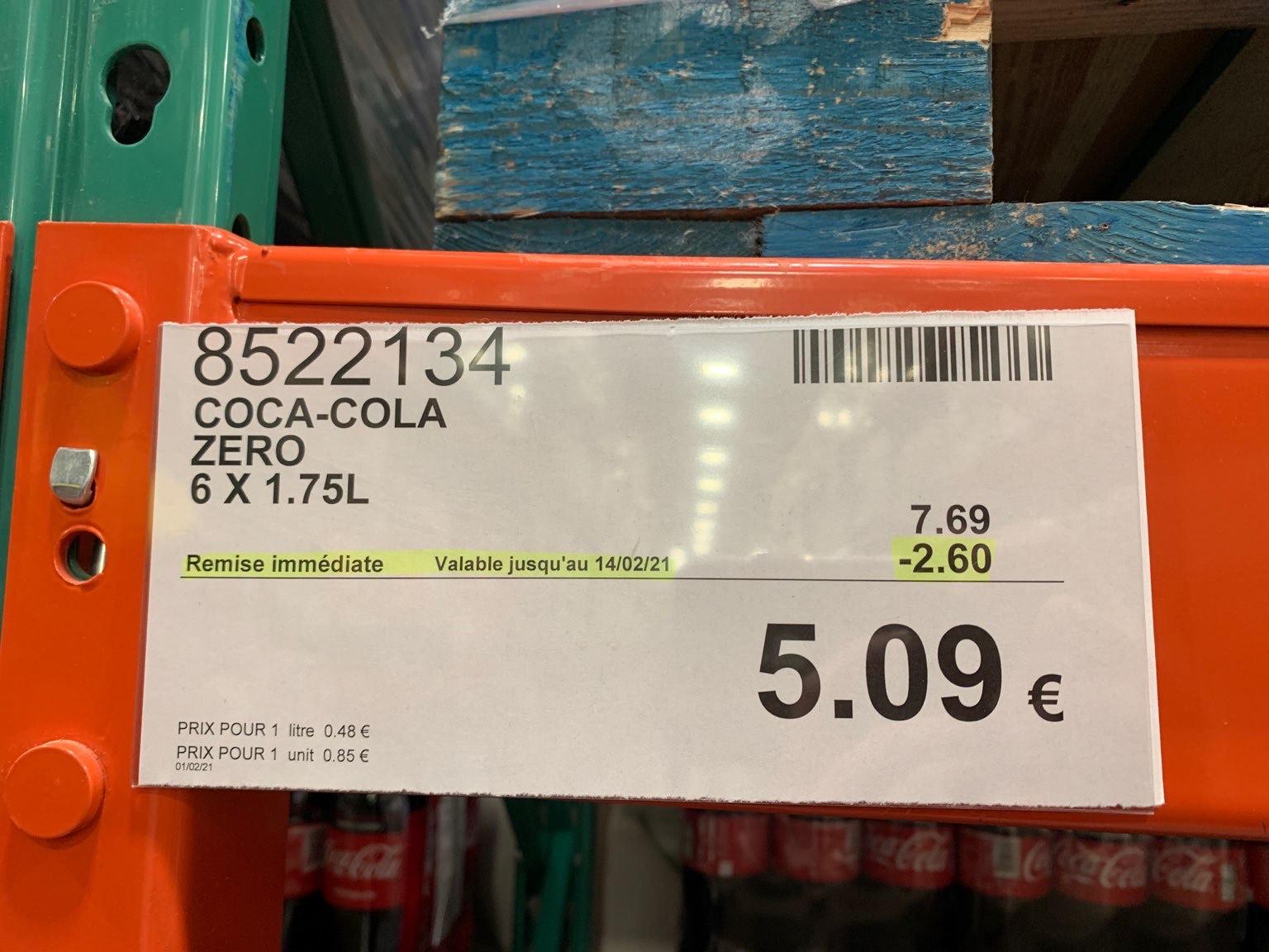 [Carte Costco] Pack 6 bouteilles de soda Coca Cola sans sucres (6x1.75l) - Villebon-sur-Yvette (91)