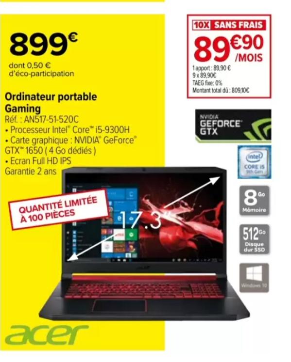 "PC portable 17"" Acer AN517-51-520C - FHD, i5-9300H, 8Go de RAM, SSD 512 Go, GTX 1650"