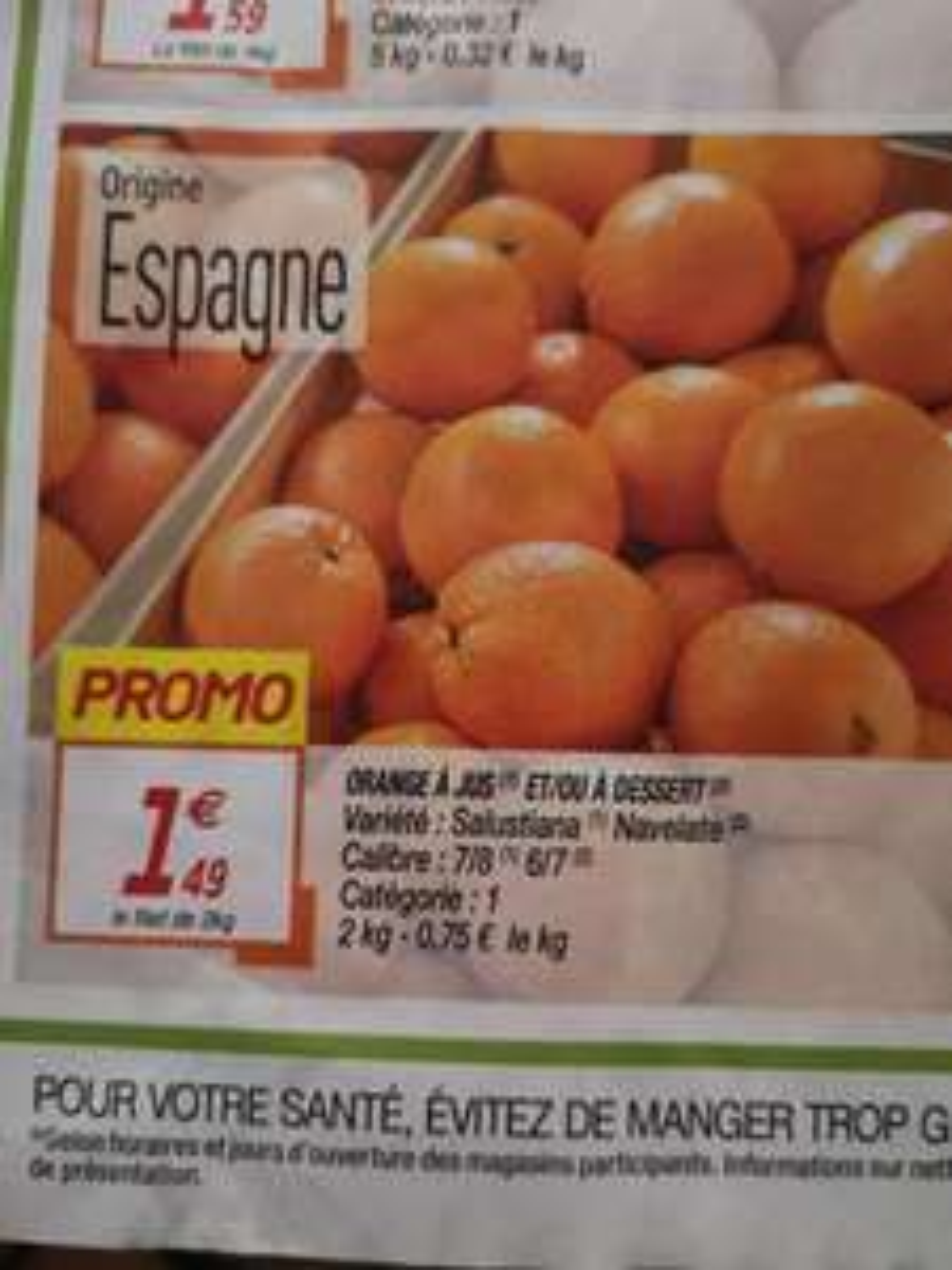 Filet d'oranges de 2 kg - calibre 7/8, catégorie 1 (Origine Espagne)