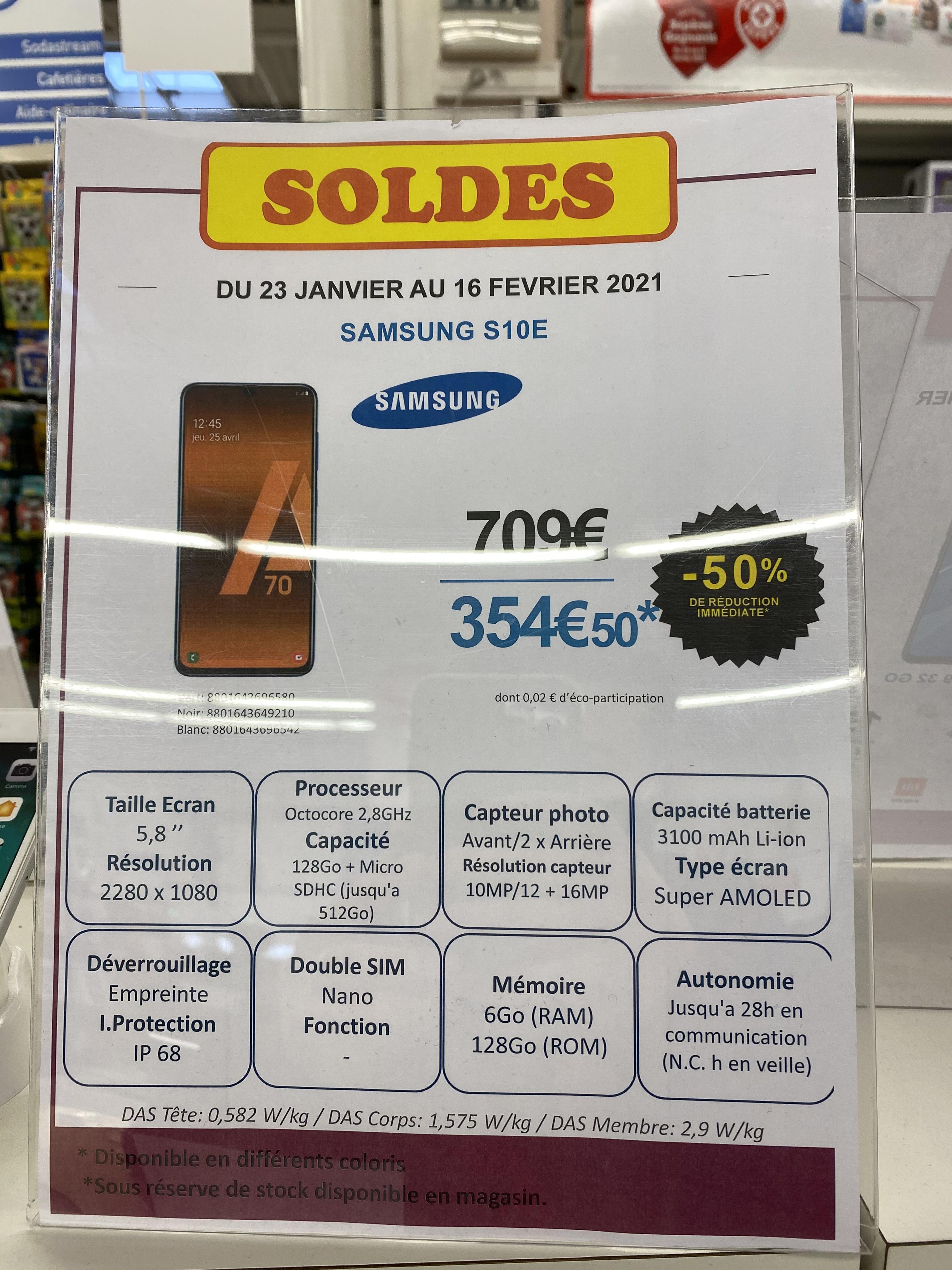 "Smartphone 5.8"" Samsung Galaxy S10e - Full HD+, Exynos 9 Series 9820, 6 Go RAM, 128 Go (Meyzieu 69)"